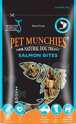 Pet Munchies Hypoallergenic Dog Treats - Salmon Bites 90g