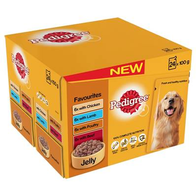 Pedigree Wet Dog Food Pouches (Adult) - Favourites in Jelly (24 X 100g)