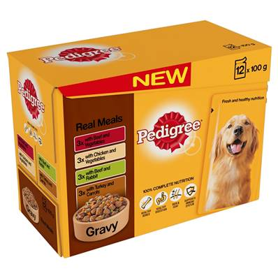 Pedigree Wet Dog Food Pouches (Adult) - Real Meal in Gravy (12 X 100g)