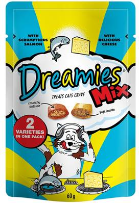 Dreamies Cat Treats Mixed Flavours - Salmon and Cheese 60g