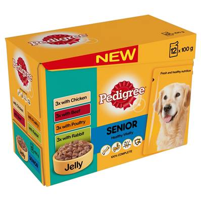 Pedigree Wet Dog Food Pouches (Senior) - Variety In Jelly (12 X 100g)